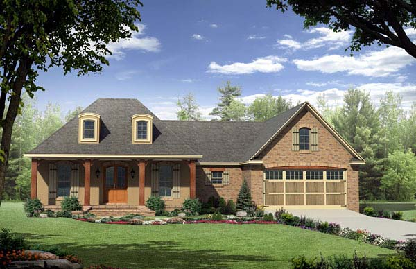 Country, European, French Country House Plan 59165 with 3 Beds, 2 Baths, 2 Car Garage Front Elevation