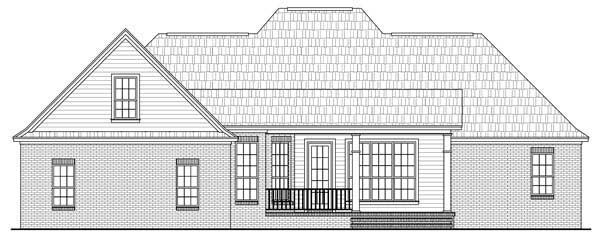 European, French Country, Tuscan House Plan 59167 with 4 Beds, 3 Baths, 2 Car Garage Rear Elevation