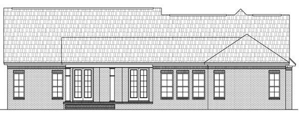 Country, European, French Country, Traditional House Plan 59171 with 3 Beds, 3 Baths, 2 Car Garage Rear Elevation