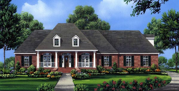 Country, European, French Country, Southern House Plan 59176 with 4 Beds, 3 Baths, 2 Car Garage Elevation