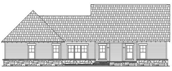 Craftsman House Plan 59178 with 3 Beds, 3 Baths, 2 Car Garage Rear Elevation