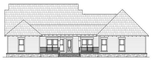 Bungalow, Craftsman House Plan 59193 with 4 Beds, 3 Baths, 2 Car Garage Rear Elevation