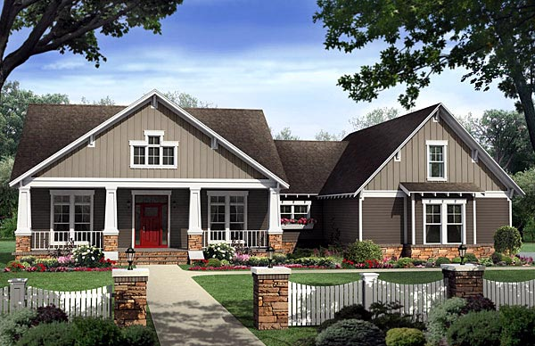 Bungalow, Country, Craftsman House Plan 59198 with 4 Beds, 3 Baths, 2 Car Garage Front Elevation