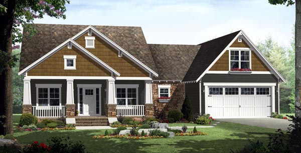 Bungalow, Craftsman, Traditional House Plan 59201 with 3 Beds, 2 Baths, 2 Car Garage Front Elevation