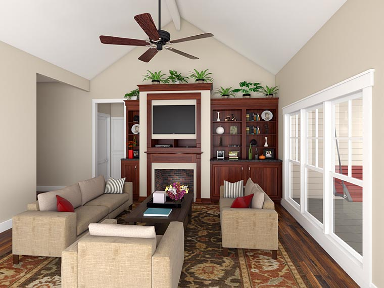 Bungalow, Craftsman, Traditional House Plan 59201 with 3 Beds, 2 Baths, 2 Car Garage Picture 2