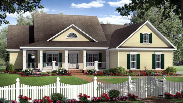 Country, Farmhouse, Traditional House Plan 59202 with 4 Beds, 3 Baths, 2 Car Garage Elevation