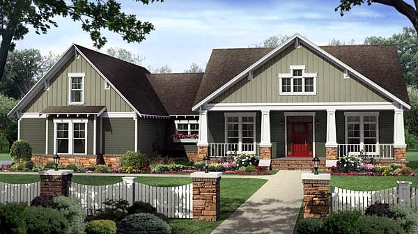 Bungalow, Craftsman House Plan 59207 with 4 Beds, 3 Baths, 2 Car Garage Elevation