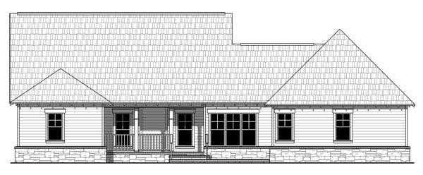 Bungalow, Craftsman House Plan 59207 with 4 Beds, 3 Baths, 2 Car Garage Rear Elevation