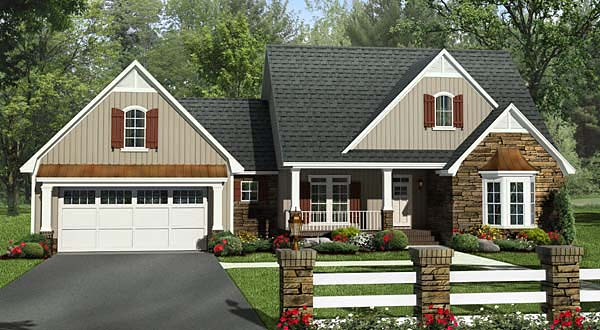 Craftsman, European, French Country, Southern, Traditional House Plan 59213 with 4 Beds, 3 Baths, 2 Car Garage Elevation