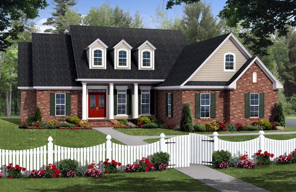 Country, Farmhouse, Southern, Traditional House Plan 59219 with 4 Beds, 2 Baths, 2 Car Garage Elevation