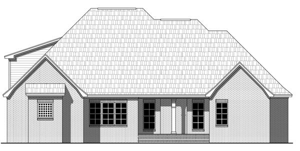 Country, European, Traditional House Plan 59220 with 4 Beds, 2 Baths, 2 Car Garage Rear Elevation