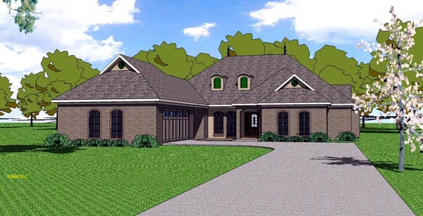 Contemporary, Florida, Southern House Plan 59300 with 4 Beds, 4 Baths, 2 Car Garage Elevation