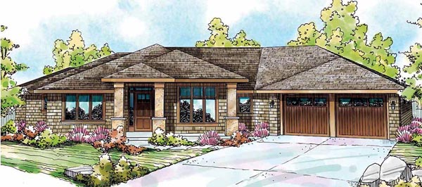 Bungalow, Florida, Ranch House Plan 59421 with 3 Beds, 3 Baths, 4 Car Garage Elevation