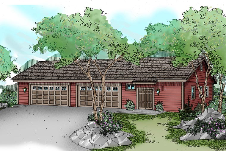 Traditional 8 Car Garage Plan 59459 Elevation