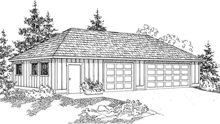 Traditional 3 Car Garage Plan 59470 Elevation