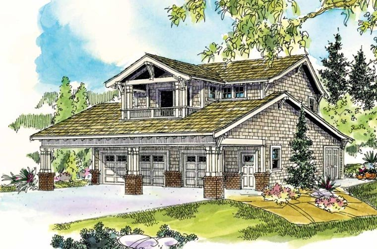 Bungalow, Craftsman 5 Car Garage Apartment Plan 59472 with 1 Beds, 2 Baths Front Elevation