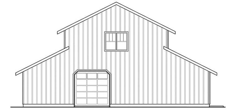 Country 0 Car Garage Apartment Plan 59474 Rear Elevation