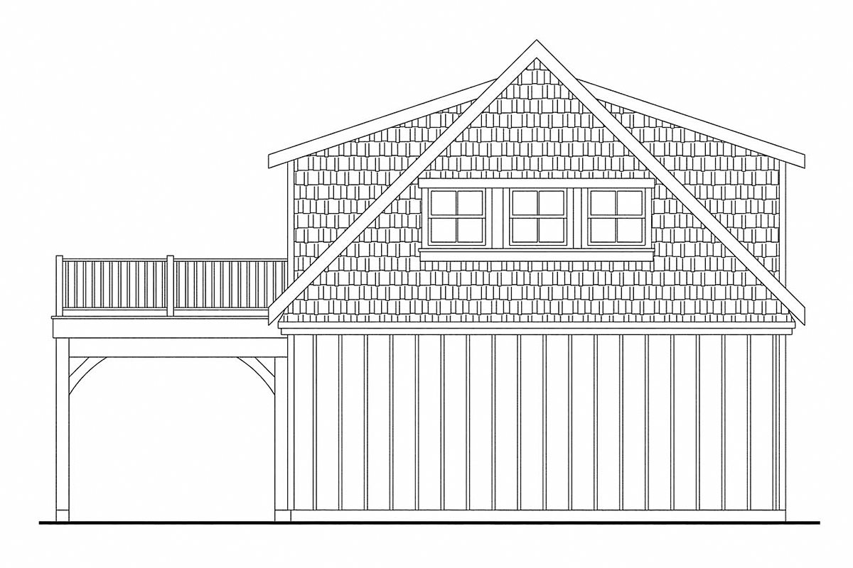 Bungalow, Cottage, Craftsman 2 Car Garage Apartment Plan 59475 Rear Elevation