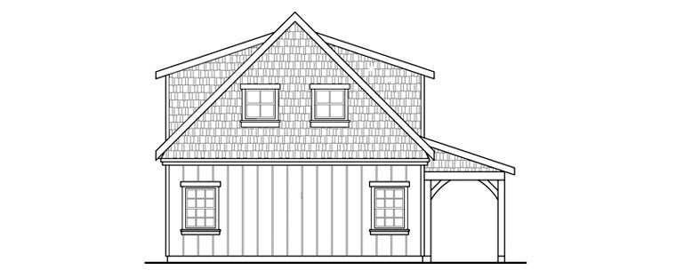 Country, Craftsman, Farmhouse 2 Car Garage Plan 59479 Rear Elevation