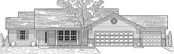 Traditional House Plan 59643 with 3 Beds, 2 Baths, 3 Car Garage Elevation
