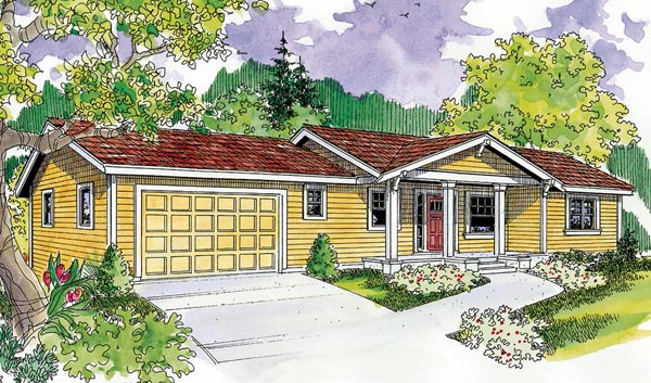 Bungalow, Cottage, Country, Craftsman, Ranch House Plan 59706 with 3 Beds, 3 Baths, 2 Car Garage Front Elevation