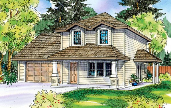 Contemporary, Cottage, Country, Craftsman House Plan 59718 with 3 Beds, 3 Baths, 2 Car Garage Elevation