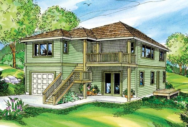 Contemporary, Florida House Plan 59720 with 2 Beds, 3 Baths, 1 Car Garage Front Elevation