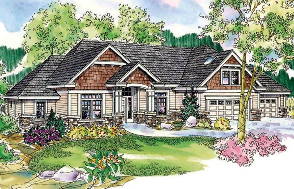 Cottage House Plan 59737 with 3 Beds, 3 Baths, 3 Car Garage Elevation