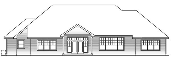 Cottage House Plan 59737 with 3 Beds, 3 Baths, 3 Car Garage Rear Elevation
