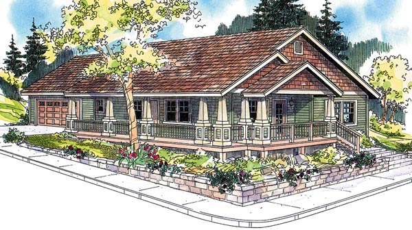 Cottage, Country, Craftsman, Ranch House Plan 59754 with 3 Beds, 2 Baths, 2 Car Garage Elevation