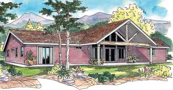 Contemporary, Ranch House Plan 59760 with 3 Beds, 3 Baths, 2 Car Garage Elevation