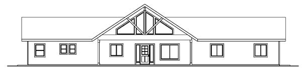 Contemporary, Ranch House Plan 59760 with 3 Beds, 3 Baths, 2 Car Garage Rear Elevation