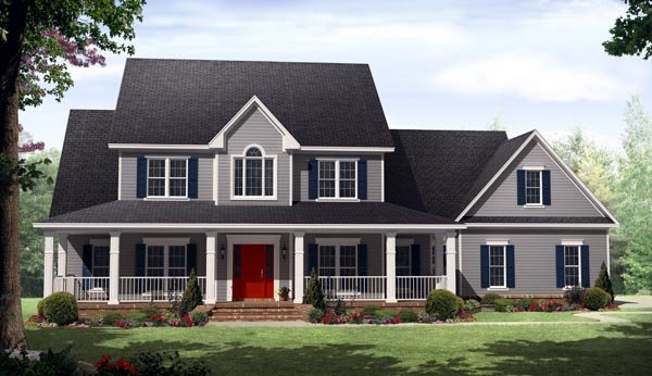 Country, Farmhouse House Plan 59930 with 4 Beds, 4 Baths, 3 Car Garage Elevation
