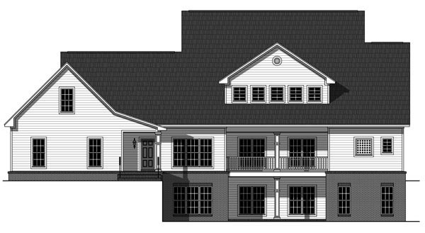 Country, Farmhouse House Plan 59930 with 4 Beds, 4 Baths, 3 Car Garage Rear Elevation