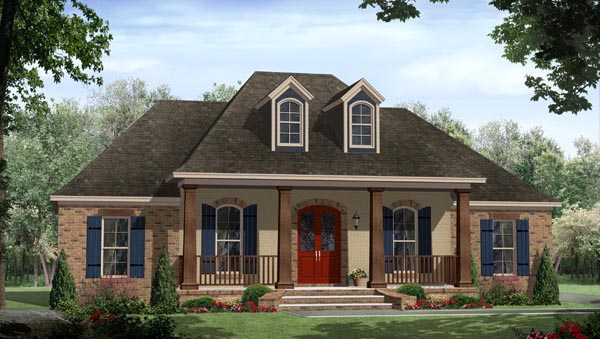 Country, European, French Country House Plan 59937 with 3 Beds, 2 Baths, 2 Car Garage Elevation