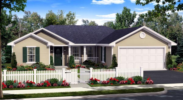 Country, Ranch, Traditional House Plan 59940 with 3 Beds, 2 Baths, 2 Car Garage Elevation