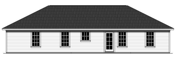 Country, Ranch, Traditional House Plan 59940 with 3 Beds, 2 Baths, 2 Car Garage Rear Elevation