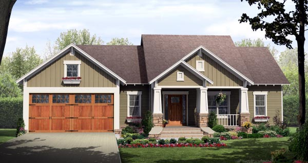 Bungalow, Craftsman House Plan 59942 with 3 Beds, 2 Baths, 2 Car Garage Front Elevation