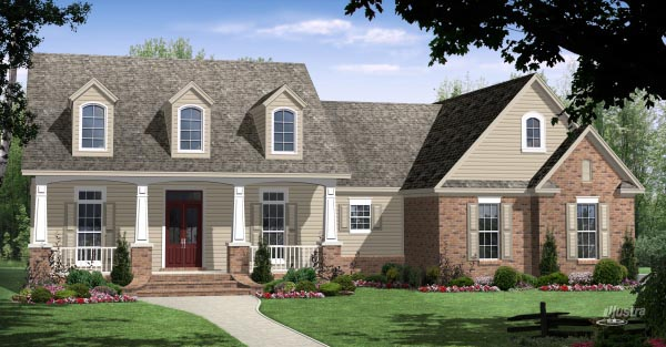Country, Craftsman, Traditional House Plan 59945 with 3 Beds, 3 Baths, 2 Car Garage Elevation
