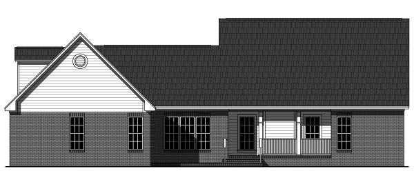 Country, Craftsman, Traditional House Plan 59945 with 3 Beds, 3 Baths, 2 Car Garage Rear Elevation