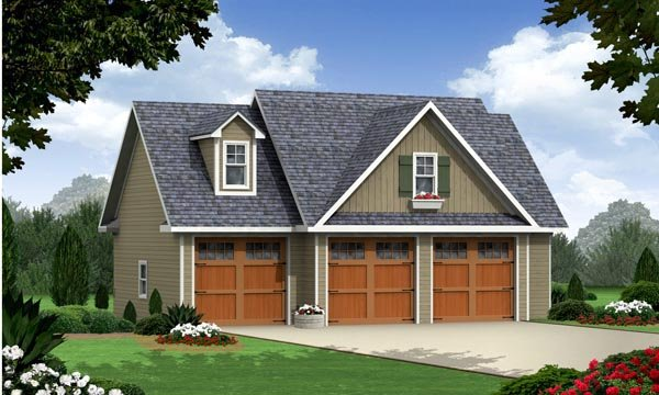 Cottage, Craftsman, Traditional 3 Car Garage Apartment Plan 59948 with 1 Beds, 1 Baths Front Elevation