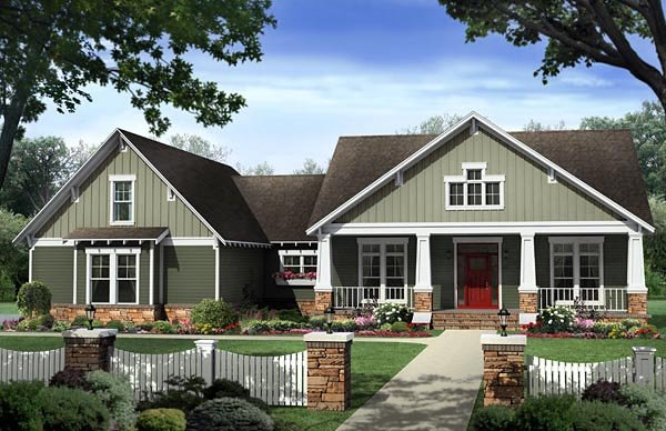 Cottage, Country, Craftsman House Plan 59954 with 4 Beds, 3 Baths, 2 Car Garage Elevation