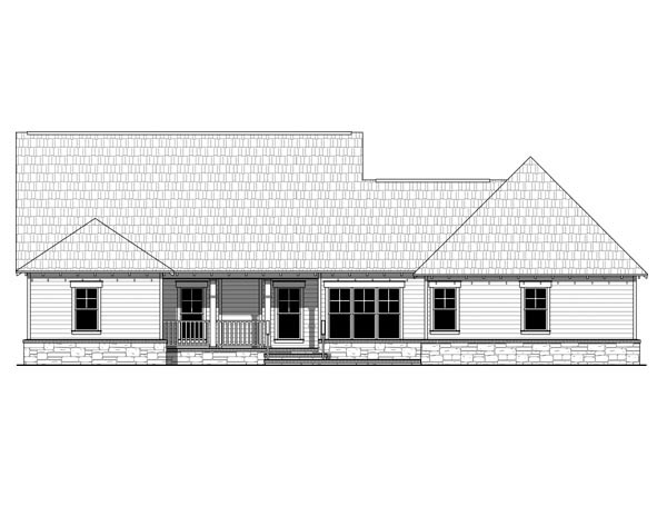 Cottage, Country, Craftsman House Plan 59954 with 4 Beds, 3 Baths, 2 Car Garage Rear Elevation