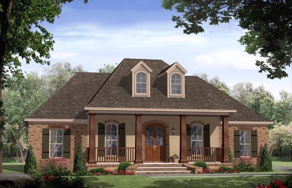 Country, European, French Country, Traditional House Plan 59972 with 3 Beds, 2 Baths, 2 Car Garage Elevation