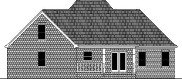 Country, European, French Country, Traditional House Plan 59972 with 3 Beds, 2 Baths, 2 Car Garage Rear Elevation