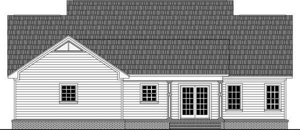 Colonial, Country, Ranch, Traditional House Plan 59976 with 3 Beds, 2 Baths, 2 Car Garage Rear Elevation