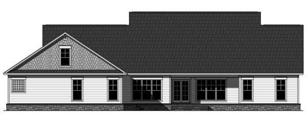 Cottage, Country, Craftsman, French Country House Plan 59978 with 4 Beds, 4 Baths, 3 Car Garage Rear Elevation