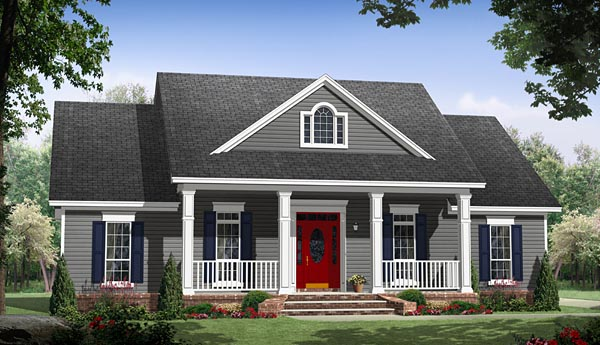 Country, Ranch, Traditional House Plan 59988 with 3 Beds, 2 Baths, 2 Car Garage Front Elevation