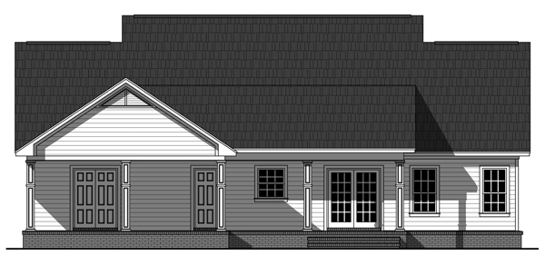 Country, Ranch, Traditional House Plan 59988 with 3 Beds, 2 Baths, 2 Car Garage Rear Elevation