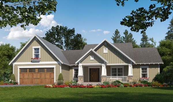 Cottage, Craftsman, Traditional House Plan 59989 with 3 Beds, 3 Baths, 2 Car Garage Elevation